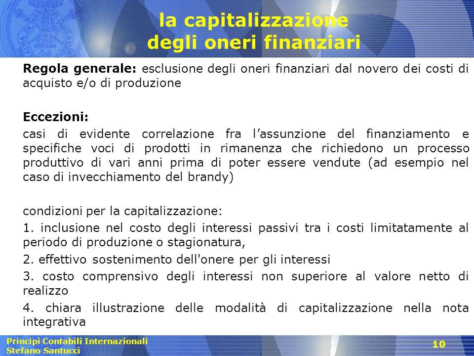 Principi Contabili Internazionali Stefano Santucci la capitalizzazione degli oneri finanziari Regola generale: esclusione degli oneri finanziari dal n