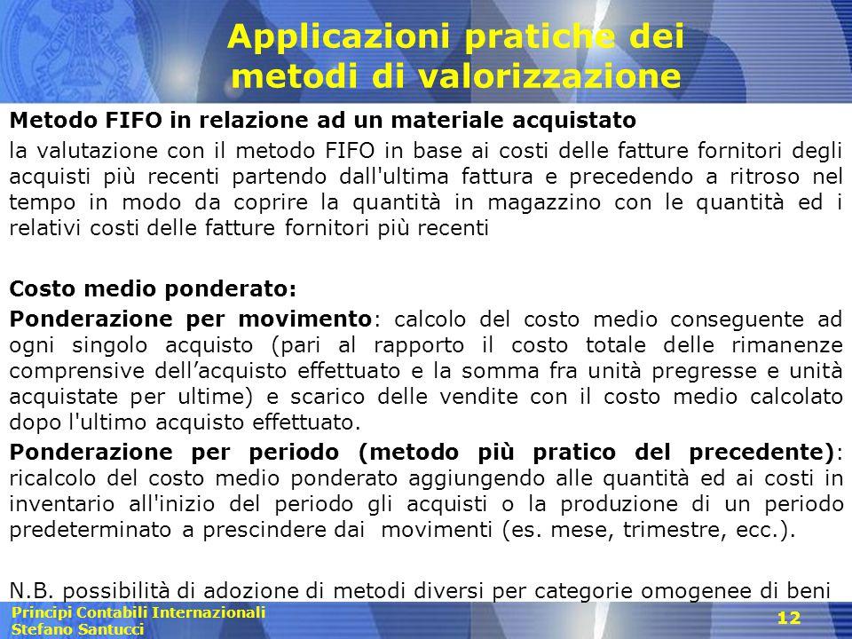Principi Contabili Internazionali Stefano Santucci Applicazioni pratiche dei metodi di valorizzazione Metodo FIFO in relazione ad un materiale acquist