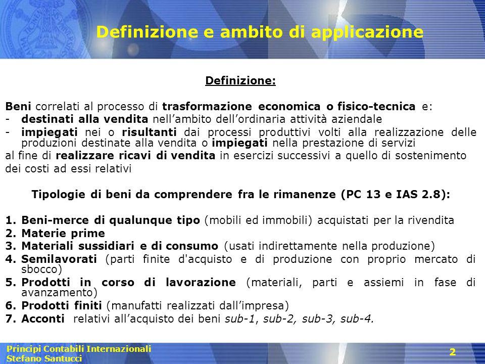 Principi Contabili Internazionali Stefano Santucci 2 Definizione e ambito di applicazione Definizione: Beni correlati al processo di trasformazione ec