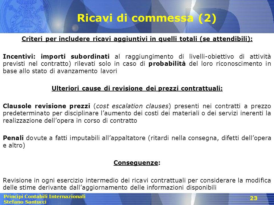 Principi Contabili Internazionali Stefano Santucci 23 Ricavi di commessa (2) Criteri per includere ricavi aggiuntivi in quelli totali (se attendibili)