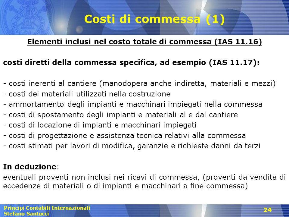 Principi Contabili Internazionali Stefano Santucci 24 Costi di commessa (1) Elementi inclusi nel costo totale di commessa (IAS 11.16) costi diretti de