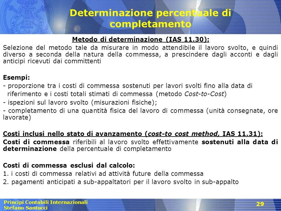 Principi Contabili Internazionali Stefano Santucci 29 Determinazione percentuale di completamento Metodo di determinazione (IAS 11.30): Selezione del