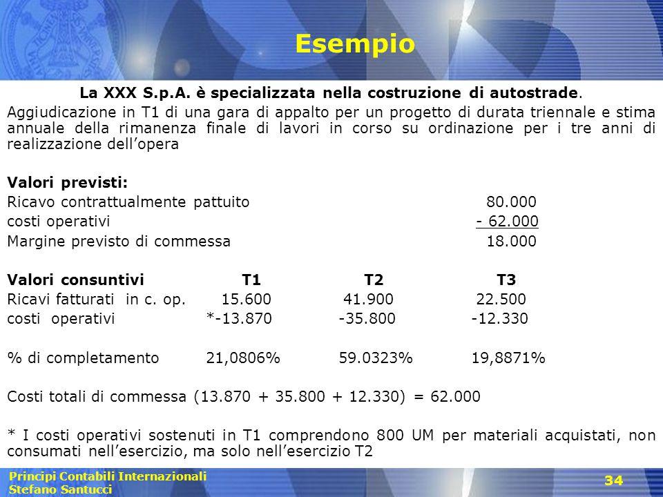 Principi Contabili Internazionali Stefano Santucci 34 Esempio La XXX S.p.A. è specializzata nella costruzione di autostrade. Aggiudicazione in T1 di u