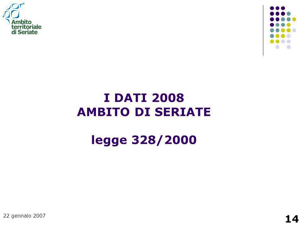 22 gennaio 2007 14 I DATI 2008 AMBITO DI SERIATE legge 328/2000