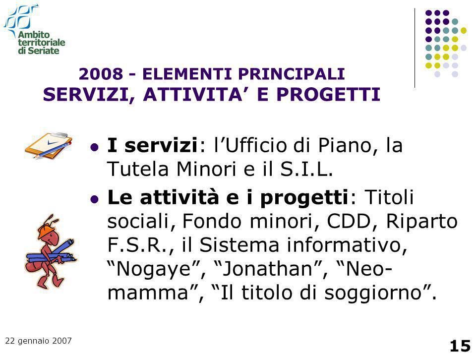 22 gennaio 2007 15 2008 - ELEMENTI PRINCIPALI SERVIZI, ATTIVITA' E PROGETTI I servizi: l'Ufficio di Piano, la Tutela Minori e il S.I.L. Le attività e