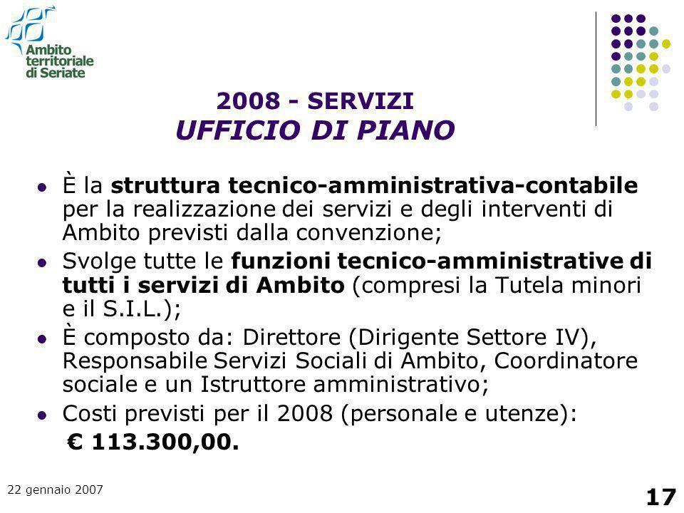 22 gennaio 2007 17 È la struttura tecnico-amministrativa-contabile per la realizzazione dei servizi e degli interventi di Ambito previsti dalla conven