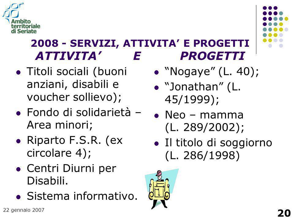 22 gennaio 2007 20 Titoli sociali (buoni anziani, disabili e voucher sollievo); Fondo di solidarietà – Area minori; Riparto F.S.R. (ex circolare 4); C