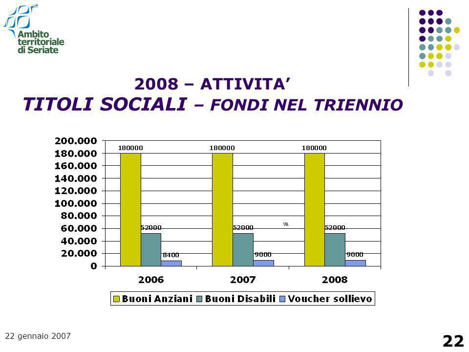 22 gennaio 2007 22 2008 – ATTIVITA' TITOLI SOCIALI – FONDI NEL TRIENNIO