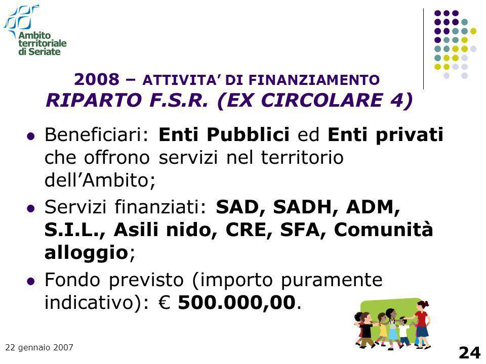 22 gennaio 2007 24 Beneficiari: Enti Pubblici ed Enti privati che offrono servizi nel territorio dell'Ambito; Servizi finanziati: SAD, SADH, ADM, S.I.