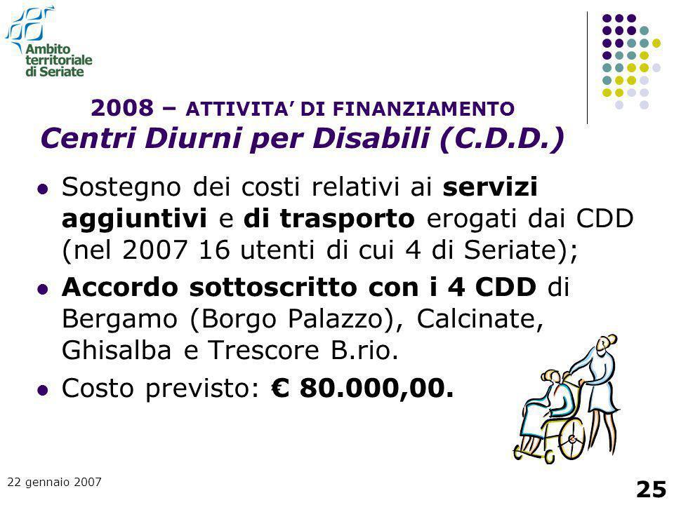 22 gennaio 2007 25 Sostegno dei costi relativi ai servizi aggiuntivi e di trasporto erogati dai CDD (nel 2007 16 utenti di cui 4 di Seriate); Accordo