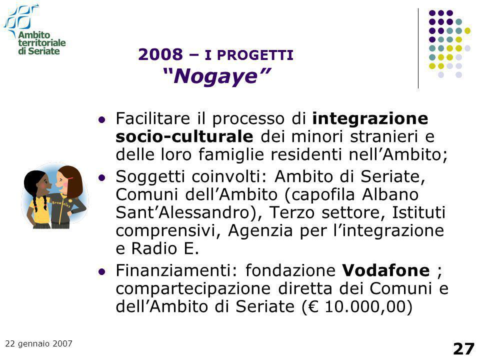 22 gennaio 2007 27 Facilitare il processo di integrazione socio-culturale dei minori stranieri e delle loro famiglie residenti nell'Ambito; Soggetti c