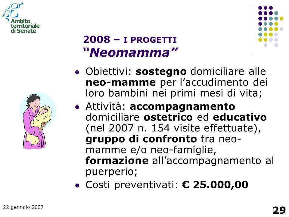 22 gennaio 2007 29 Obiettivi: sostegno domiciliare alle neo-mamme per l'accudimento dei loro bambini nei primi mesi di vita; Attività: accompagnamento
