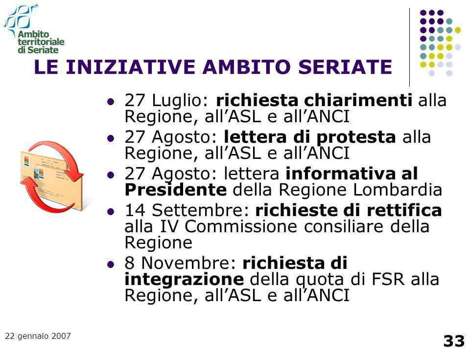 22 gennaio 2007 33 LE INIZIATIVE AMBITO SERIATE 27 Luglio: richiesta chiarimenti alla Regione, all'ASL e all'ANCI 27 Agosto: lettera di protesta alla