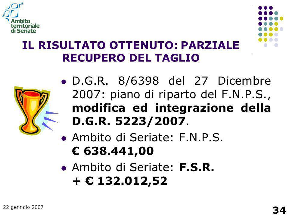 22 gennaio 2007 34 IL RISULTATO OTTENUTO: PARZIALE RECUPERO DEL TAGLIO D.G.R. 8/6398 del 27 Dicembre 2007: piano di riparto del F.N.P.S., modifica ed
