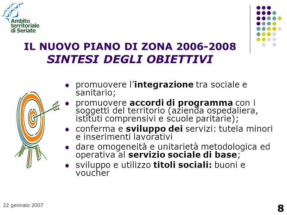 22 gennaio 2007 8 IL NUOVO PIANO DI ZONA 2006-2008 SINTESI DEGLI OBIETTIVI promuovere l'integrazione tra sociale e sanitario; promuovere accordi di pr