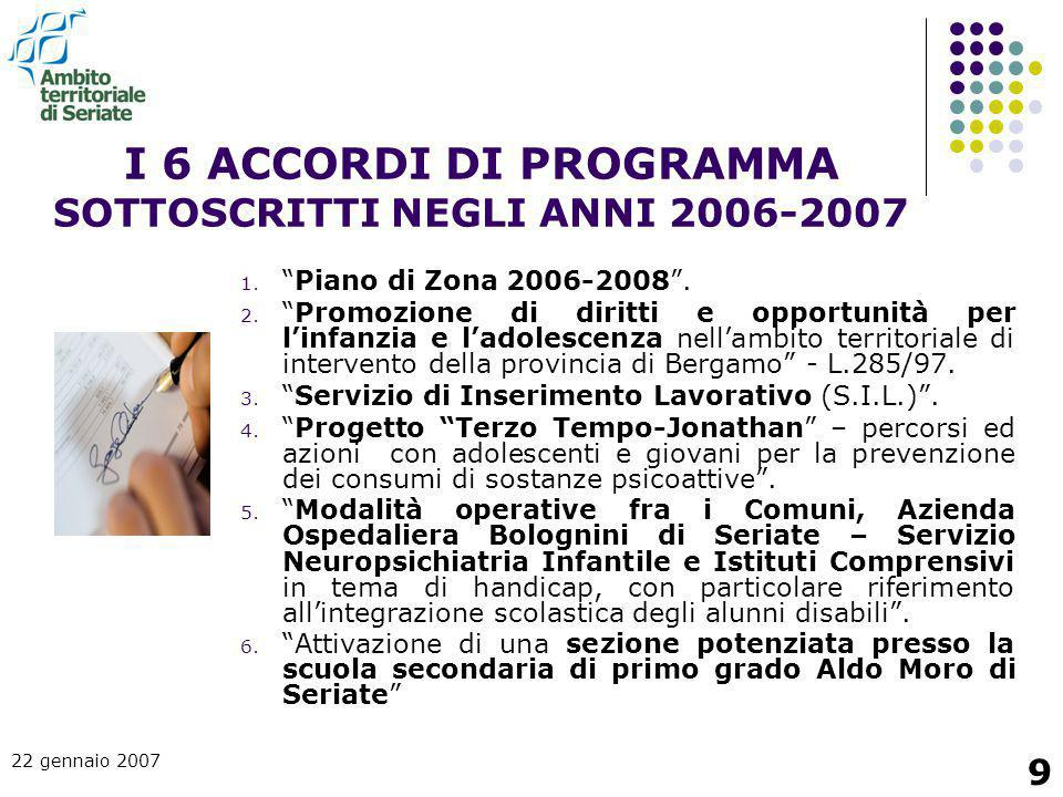 """22 gennaio 2007 9 I 6 ACCORDI DI PROGRAMMA SOTTOSCRITTI NEGLI ANNI 2006-2007 1. """"Piano di Zona 2006-2008"""". 2. """"Promozione di diritti e opportunità per"""