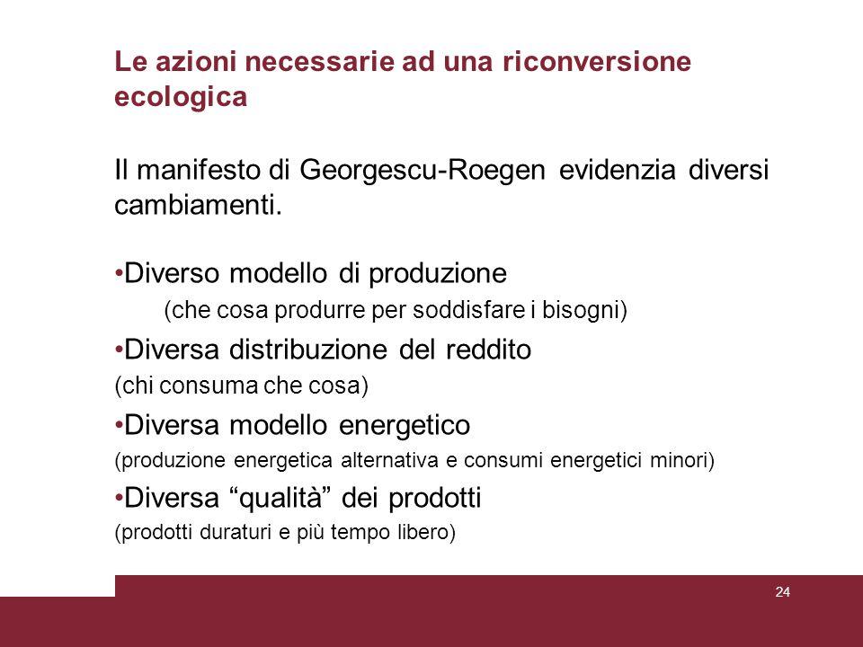 Le azioni necessarie ad una riconversione ecologica Il manifesto di Georgescu-Roegen evidenzia diversi cambiamenti. Diverso modello di produzione (che