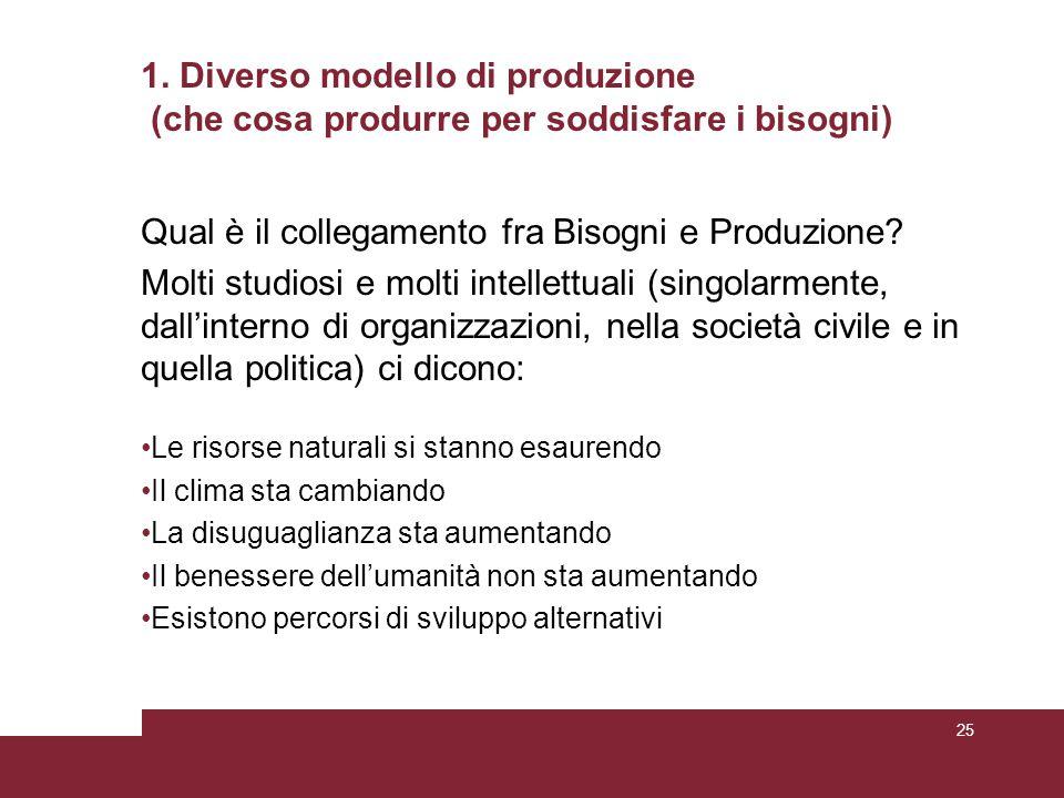 1. Diverso modello di produzione (che cosa produrre per soddisfare i bisogni) Qual è il collegamento fra Bisogni e Produzione? Molti studiosi e molti