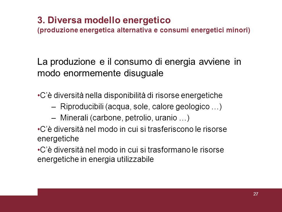 3. Diversa modello energetico (produzione energetica alternativa e consumi energetici minori) La produzione e il consumo di energia avviene in modo en