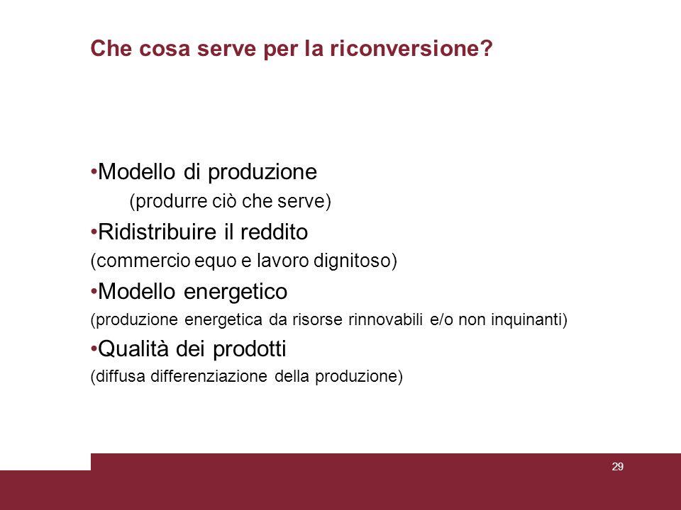 Che cosa serve per la riconversione? Modello di produzione (produrre ciò che serve) Ridistribuire il reddito (commercio equo e lavoro dignitoso) Model
