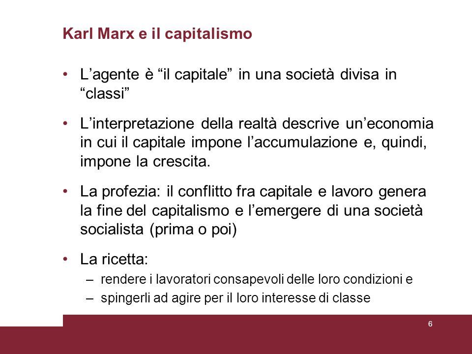 Karl Marx e il capitalismo L'agente è il capitale in una società divisa in classi L'interpretazione della realtà descrive un'economia in cui il capitale impone l'accumulazione e, quindi, impone la crescita.