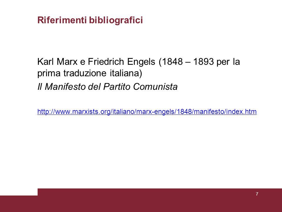 Riferimenti bibliografici Karl Marx e Friedrich Engels (1848 – 1893 per la prima traduzione italiana) Il Manifesto del Partito Comunista http://www.ma