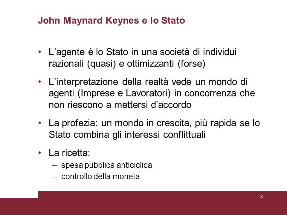 John Maynard Keynes e lo Stato L'agente è lo Stato in una società di individui razionali (quasi) e ottimizzanti (forse) L'interpretazione della realtà vede un mondo di agenti (Imprese e Lavoratori) in concorrenza che non riescono a mettersi d'accordo La profezia: un mondo in crescita, più rapida se lo Stato combina gli interessi conflittuali La ricetta: –spesa pubblica anticiclica –controllo della moneta 8