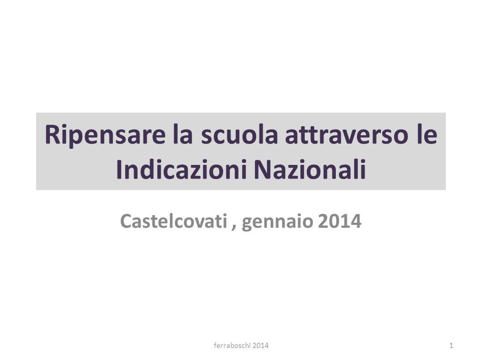 Castelcovati, gennaio 2014 Ripensare la scuola attraverso le Indicazioni Nazionali 1ferraboschi 2014