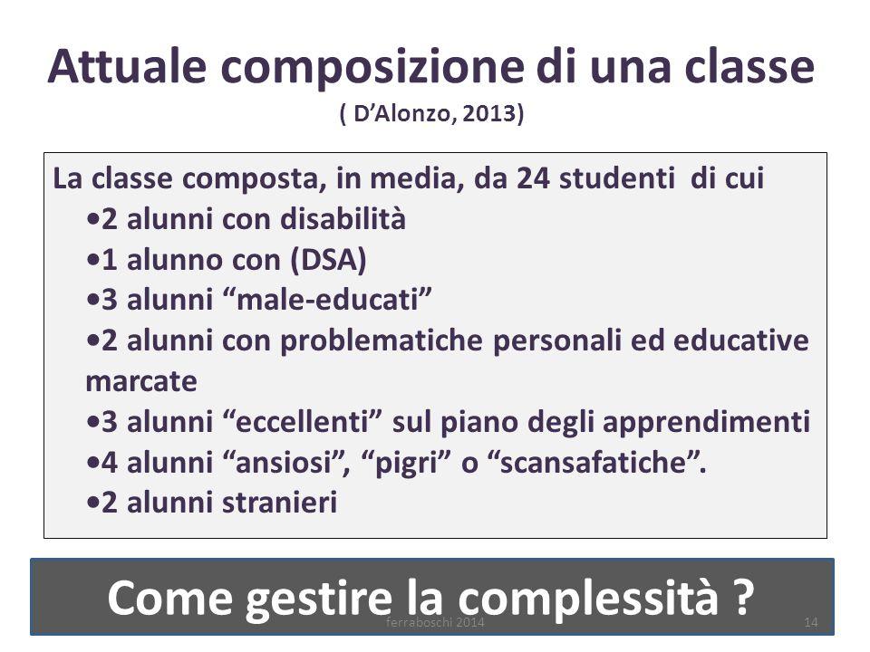 Attuale composizione di una classe ( D'Alonzo, 2013) La classe composta, in media, da 24 studenti di cui 2 alunni con disabilità 1 alunno con (DSA) 3