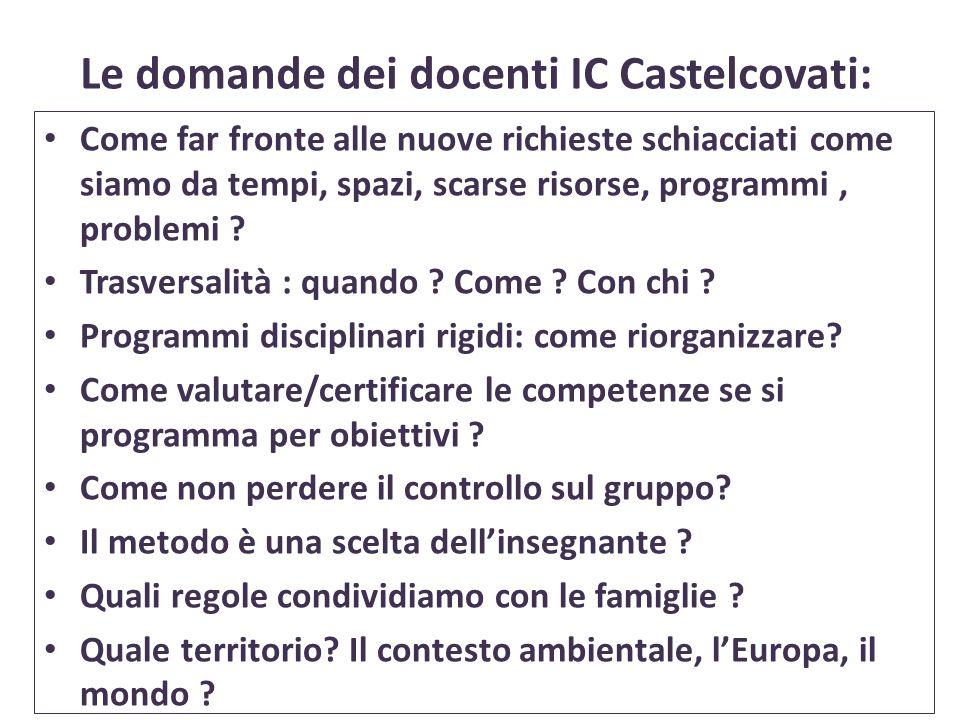 Le domande dei docenti IC Castelcovati: Come far fronte alle nuove richieste schiacciati come siamo da tempi, spazi, scarse risorse, programmi, proble