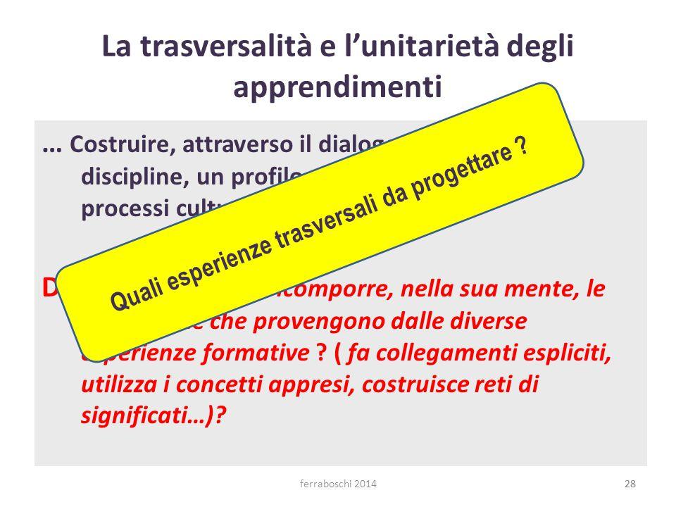 ferraboschi 201428 La trasversalità e l'unitarietà degli apprendimenti … Costruire, attraverso il dialogo tra le diverse discipline, un profilo coeren