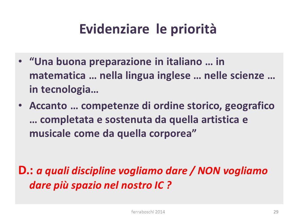 """ferraboschi 201429 Evidenziare le priorità """"Una buona preparazione in italiano … in matematica … nella lingua inglese … nelle scienze … in tecnologia…"""