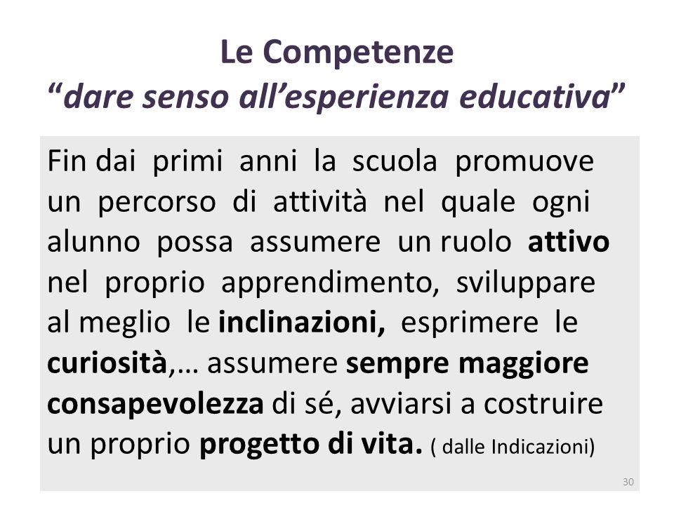 """ferraboschi 201430 Le Competenze """"dare senso all'esperienza educativa"""" Fin dai primi anni la scuola promuove un percorso di attività nel quale ogni al"""