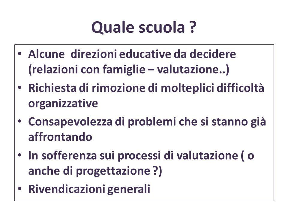 Quale scuola ? Alcune direzioni educative da decidere (relazioni con famiglie – valutazione..) Richiesta di rimozione di molteplici difficoltà organiz