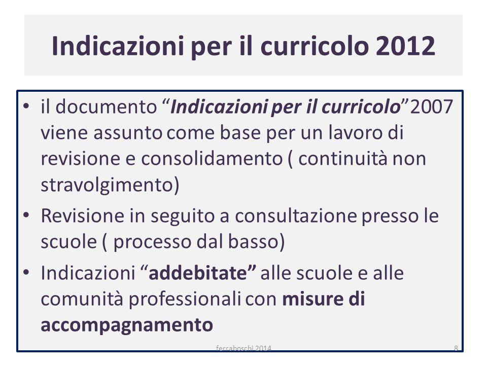 """Indicazioni per il curricolo 2012 il documento """"Indicazioni per il curricolo""""2007 viene assunto come base per un lavoro di revisione e consolidamento"""