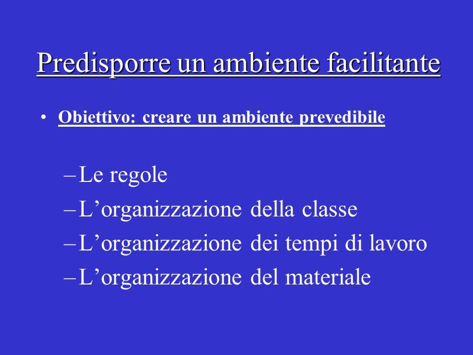 Predisporre un ambiente facilitante Obiettivo: creare un ambiente prevedibile –Le regole –L'organizzazione della classe –L'organizzazione dei tempi di