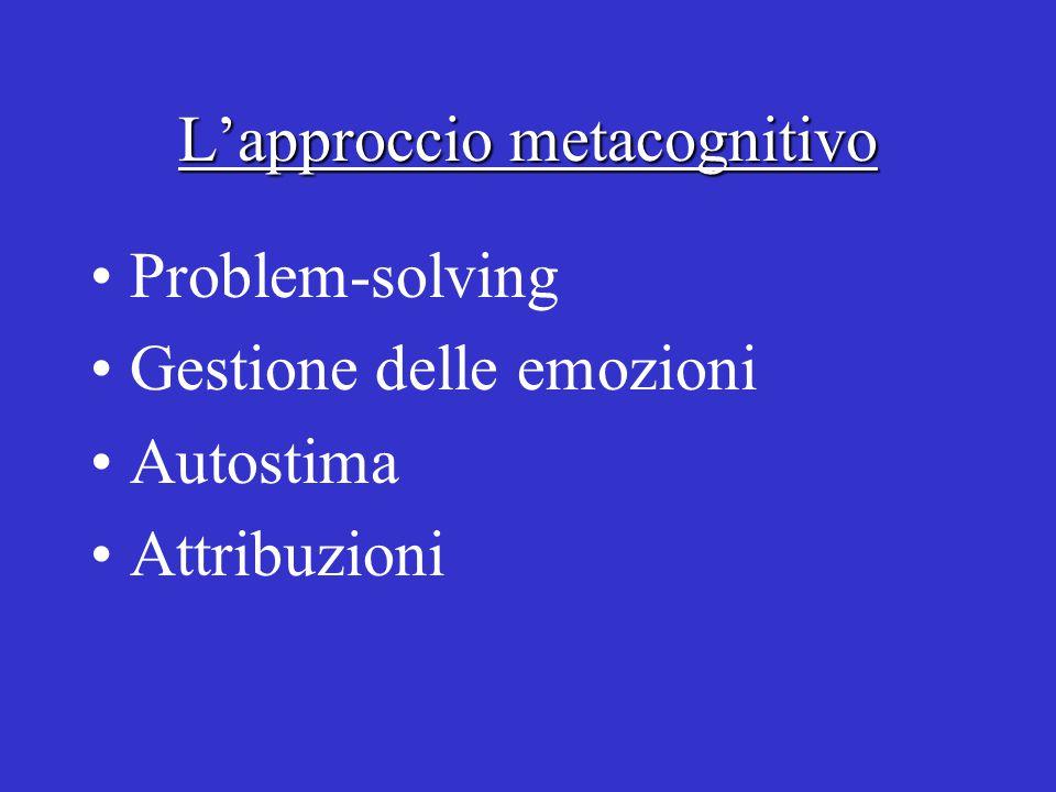L'approccio metacognitivo Problem-solving Gestione delle emozioni Autostima Attribuzioni