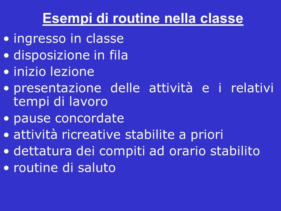 Esempi di routine nella classe ingresso in classe disposizione in fila inizio lezione presentazione delle attività e i relativi tempi di lavoro pause