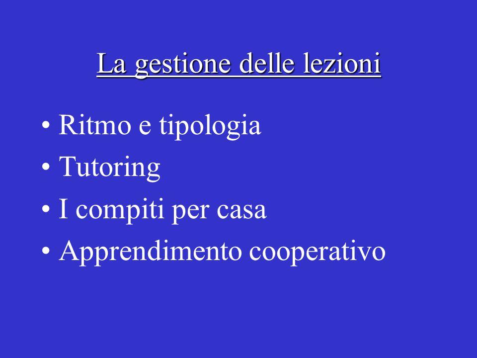 La gestione delle lezioni Ritmo e tipologia Tutoring I compiti per casa Apprendimento cooperativo