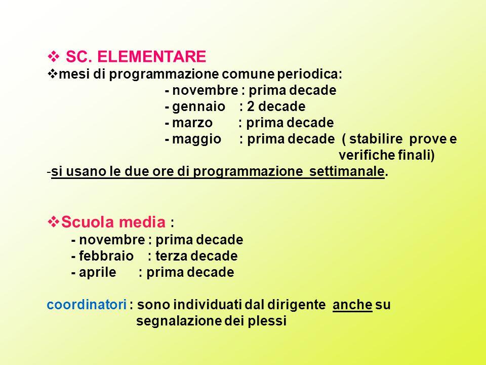  SC. ELEMENTARE  mesi di programmazione comune periodica: - novembre : prima decade - gennaio : 2 decade - marzo : prima decade - maggio : prima dec