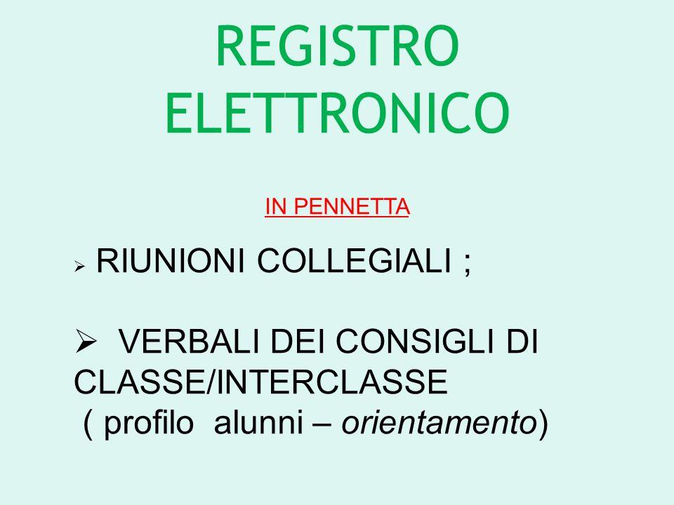 REGISTRO ELETTRONICO IN PENNETTA  RIUNIONI COLLEGIALI ;  VERBALI DEI CONSIGLI DI CLASSE/INTERCLASSE ( profilo alunni – orientamento)