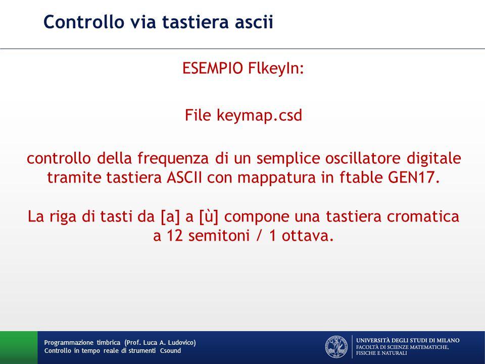 Programmazione timbrica (Prof. Luca A. Ludovico) Controllo in tempo reale di strumenti Csound Controllo via tastiera ascii ESEMPIO FlkeyIn: File keyma