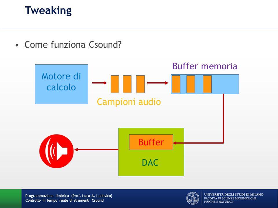 Programmazione timbrica (Prof. Luca A. Ludovico) Controllo in tempo reale di strumenti Csound Tweaking Come funziona Csound? Buffer DAC Buffer memoria
