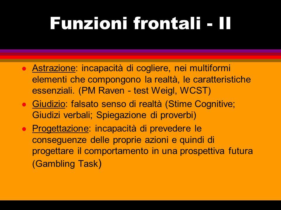 Funzioni frontali - III Inibizione: propensione a comportamenti avventati ed inopportuni (comp.