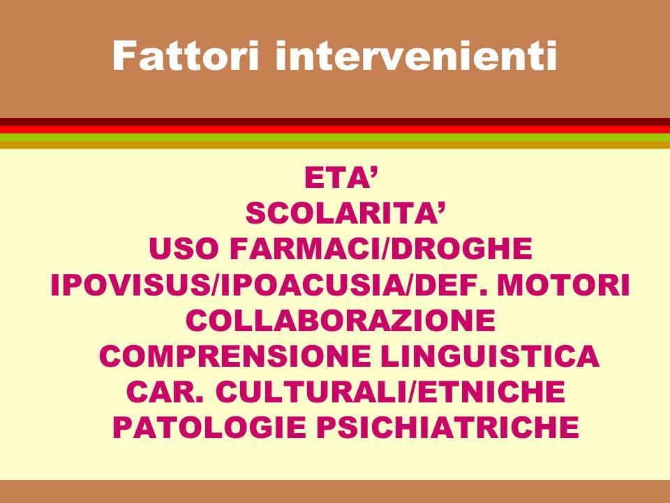 Fattori intervenienti ETA' SCOLARITA' USO FARMACI/DROGHE IPOVISUS/IPOACUSIA/DEF. MOTORI COLLABORAZIONE COMPRENSIONE LINGUISTICA CAR. CULTURALI/ETNICHE