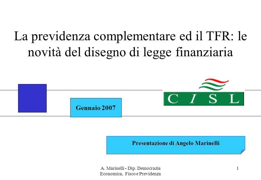 A. Marinelli - Dip. Democrazia Economica, Fisco e Previdenza 1 Gennaio 2007 Presentazione di Angelo Marinelli La previdenza complementare ed il TFR: l