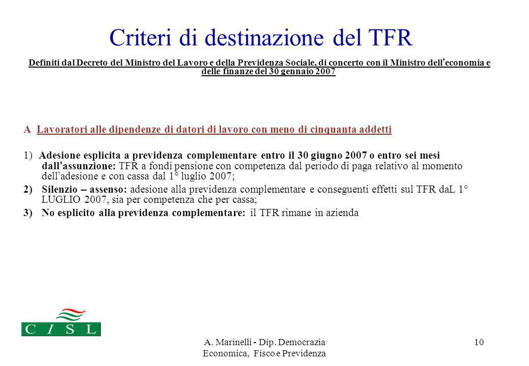 A. Marinelli - Dip. Democrazia Economica, Fisco e Previdenza 10 Criteri di destinazione del TFR Definiti dal Decreto del Ministro del Lavoro e della P