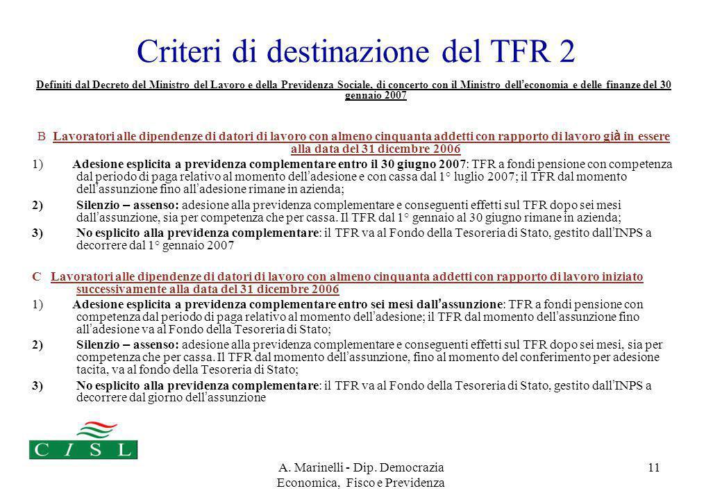 A. Marinelli - Dip. Democrazia Economica, Fisco e Previdenza 11 Criteri di destinazione del TFR 2 Definiti dal Decreto del Ministro del Lavoro e della