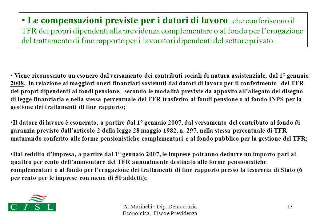 A. Marinelli - Dip. Democrazia Economica, Fisco e Previdenza 13 Le compensazioni previste per i datori di lavoro che conferiscono il TFR dei propri di