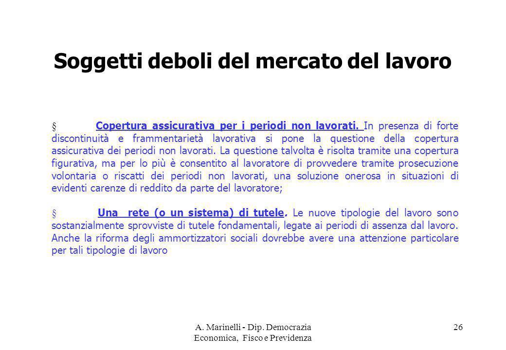 A. Marinelli - Dip. Democrazia Economica, Fisco e Previdenza 26 Soggetti deboli del mercato del lavoro § Copertura assicurativa per i periodi non lavo